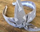 Grey Arrow Knot Tie Headband Bandanna Head Wrap Rock Fashion Headband