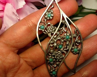 Huge Vintage 925 Sterling Silver Floral Rose Pendant Turquoise Stones Three Inches Long