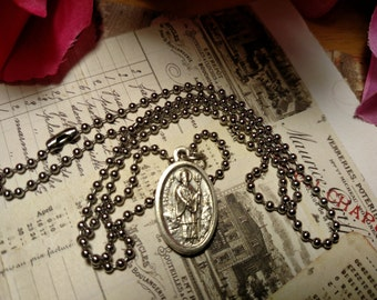Vintage Saint Patrick St Bridget Silver Religious Medal Charm Necklace Long Steel Chain