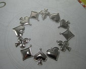 Gambling Card Suits 3 each Clubs Diamonds Hearts Spades Silver Tone Charms on Etsy x 12