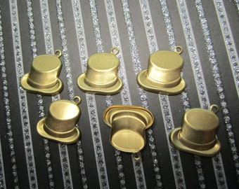 Top Hat Theatrical Charms Brass Supplies on Etsy x 6