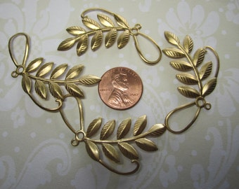 Textured Leaves Abstract Branch Brass Supplies on Etsy x 4