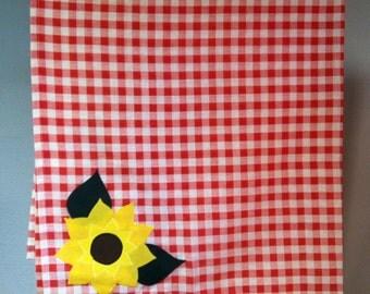 Sunflower appliqué tablecloth