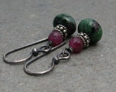 Ruby Zoisite Earrings Ruby Gemstone Earrings Oxidized Sterling Silver Earrings July Birthstone Earrings