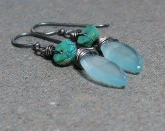 Blue Chalcedony Earrings Turquoise Earrings Oxidized Sterling Silver Earrings