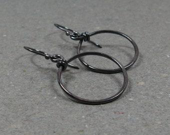 Sterling Silver Hoop Earrings Oxidized Earrings Minimalist Earrings Gift for Her