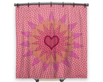 BOHO Shower Curtain, Girls Shower Curtain, Shower Curtain Art, Pink Shower  Curtain,