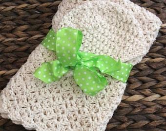 Crochet Baby Blanket  and Newborn Beanie