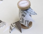 Silver Gray Cake Bunting. New:Double sided option Fabric mini Ribbon. Cake topper. Wedding invite announcements, save the date. wood spool