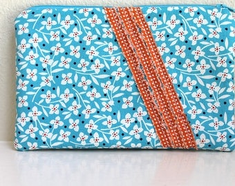 Teal and orange credit card, cash wallet zipper pouch. Aqua purse with zipper. flat ruffle front. Padded -Ready To Ship.
