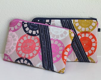 Navy Blue with plum and credit card, cash wallet, zipper pouch. Purple and Pink purse with zipper. Gold floral. Padded. -Ready to ship