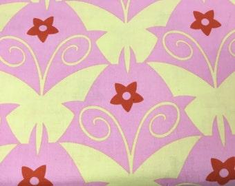 Jane Sassman Butterfly Garden Pink Yellow Cotton Fabric BTY OOP RARE shereesalchemy