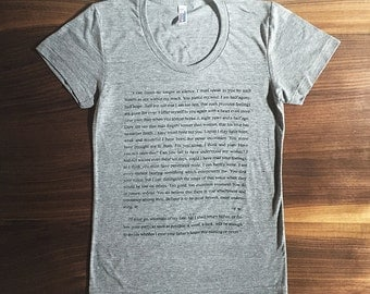 Captain Wentworth's Letter - screen printed T-shirt - Jane Austen - Persuasion -  women's and unisex sizes available