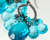 Swiss & London Blue Quartz Wire Wrapped Oxidized Sterling Silver Chandelier Earrings