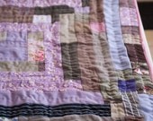 Purple Pansy Log Cabin Baby Quilt