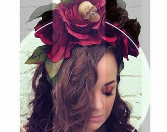 Crimson Skull Rose Dia De Los Muertos Headband, Day of the Dead, Flower Crown