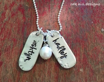 Stamped pewter mom necklace-kids name necklace-custom and personalized