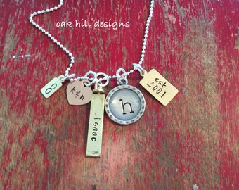 Personalized family charm necklace-mixed metal family cluster necklace-family name necklace