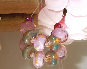 Artisan Opal Handmade Lampwork Glass Set Purple Pink- Bastets Beads SRA- Purple Wisp