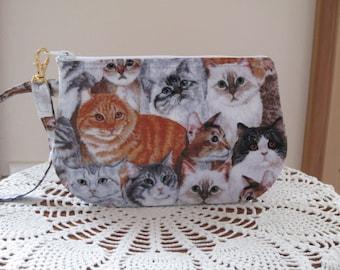 Clutch Wristlet Zipper Gadget Pouch Purse in Cats Made in USA