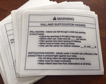 "Blank ASTM F2236 Sling Warning Labels, Soft Infant Carrier Labels, Fall And Suffocation Labels, CPSIA Labels, 4"" x 5"", Priced Per Label"