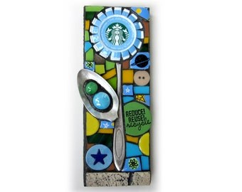 Starbuck's Flower. (Upcycled Starbuck's Cap Original Mosaic Series Assemblage Art by Shawn DuBois)