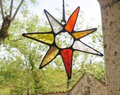 Boho Suncatcher, Stained Glass Suncatcher, Colorful Light Catcher, Glass Flower Burst, Abstract Flower Suncatcher, Sunflower colours