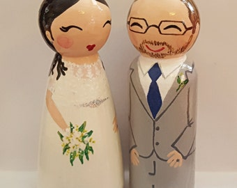Hand Painted Love Boxes Custom Wedding Bride Groom Cake Topper Kokeshi Doll Wood