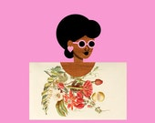 Pink Flower Postcard Girl Art, (Cottage Chic African American Botanical Art, Woman Potrait Print, Retro Wedding Art) 12x12 Square Print