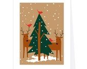 4 cards holiday card set deer with green pine red cardinals greeting card collection