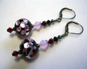 Dichroic glass earrings Swarovski crystal pink black red dangle earrings set in gunmetal with leverback hooks wire wrapped