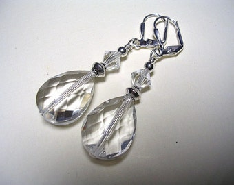 Clear Crystal Earrings Swarovski Crystal Silverplate Leverback Hooks Wire Wrapped Faceted Teardrop Crytal Earrings Gifts under 5
