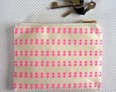 Spot Stripe printed canvas purse - neon pink