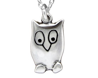 Sterling Owl Necklace - Silver Night Owl Pendant