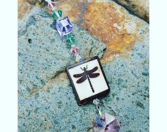 Rear View Mirror Charm Dragonfly with Crystals