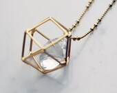 geometric gold necklace floating crystal gem geo statement 24 inch long pendant charm necklace PETUNIAS twinkle