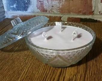 Lilac triple wicked Soy Candle 8oz Upcycled Glass Candy Dish
