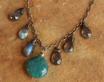 Chrysocolla Labradorite Necklace, Sterling Silver, Wire Wrapped Necklace, Adjustable Necklace, Chrysocolla Pendant, Gemstone Dangles
