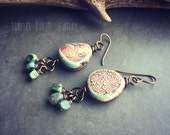 Ceramic and Turquoise dangle earrings