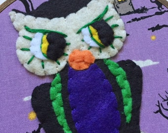 Embroidered Art Hoop - Spooky the Owl