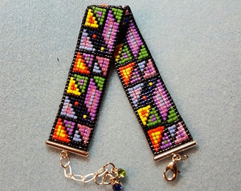 Bright and bold patchwork bracelet