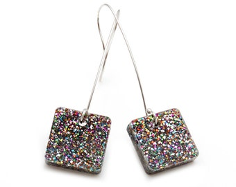 Rainbow Glitter Laser Cut Acrylic Square Drop Earrings
