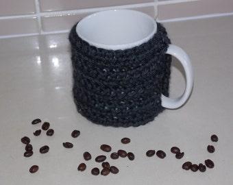 crocheted coffee cuff mug cup cozy cover dark grey charcoal