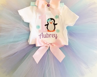 Penguin 1st Birthday Tutu Outfit- Personalized Baby Girl- Winter Onederland- Purple, Pink, Aqua