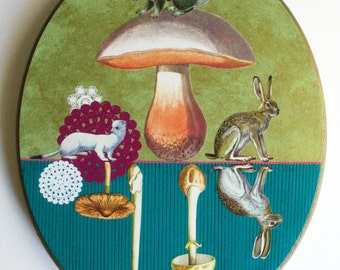 Mixed Media on Wood-Mushrooms & Bunnies-Original