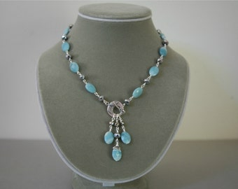 Soft Powder Blue Amazonite and Silver Rhondelle Front Closure Dangling Gemstone Necklace Set