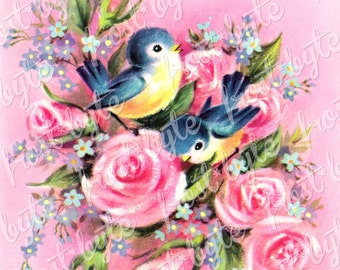 Vintage Bluebird Card - flowers - pink - digital image for instant download - roses love valentines romance kitsch
