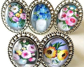 Floral Ring Collection / Choose Your Painting / Oval Silver Frame Ring / Adjustable Size