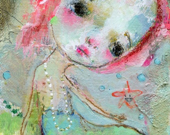 Miss Mermie - mixed media art print by Mindy Lacefield