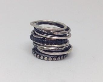Skinny stacking rings sterling silver skinny stacking rings think silver ring stack of thin silver rings textured stacking ring wedding band